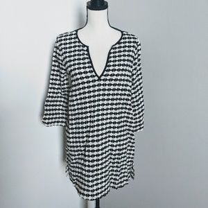 NWOT J Crew black and white check swimsuit coverup